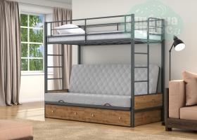 Кровать с серым диваном Дакар-1, серая-дуб вотан