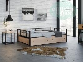 Кровать Арга, коричневая-дуб молочный