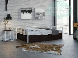 Кровать Арга, белая-венге