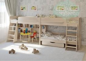 Двухъярусная кровать Легенда 25.3 для трех детей, венге светлый