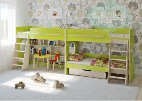 Двухъярусная кровать Легенда 25.3 для трех детей, салатовая