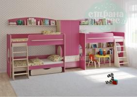 Комната для трех детей Легенда 25.4, розовый
