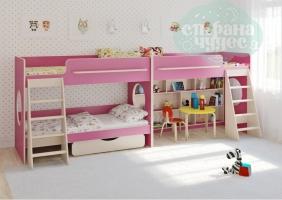 Двухъярусная кровать Легенда 25.3 для трех детей, розовая