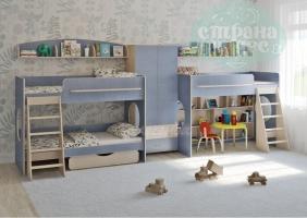 Комната для трех детей Легенда 25.4, голубая