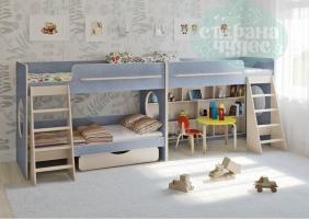Двухъярусная кровать Легенда 25.3 для трех детей, голубая