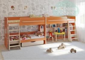 Двухъярусная кровать Легенда 25.3 для трех детей, оранжевая