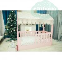Кровать-домик, розовая