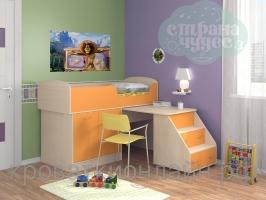 Кровать-чердак Дюймовочка-2, оранжевый