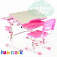 Парта-трансформер со стулом FunDesk Lavoro розовая