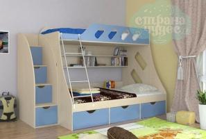Кровать двухъярусная ФМ Дельта 20.01, со ступенями голубая