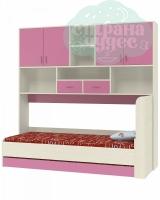 Кровать с антресолью ФМ Дельта 21.03, розовая