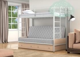 Кровать с серым диваном Дакар-1, белая-дуб молочный