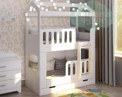 Кровать Домик двухъярусная с лестницей спереди