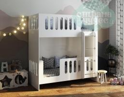Двухъярусная кровать с высоким бортиком и лестницей