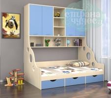Кровать с антресолью ФМ Дельта 21.01, голубая