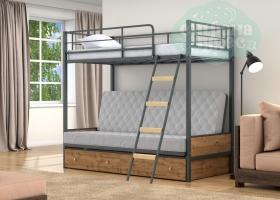 Кровать с серым диваном Дакар-2, серая-дуб вотан