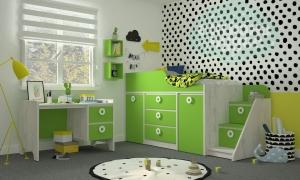 Комната детская Klюkva Mini Зеленая мамба-Дуб белый