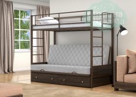 Кровать с серым диваном Дакар-1, коричневая-венге