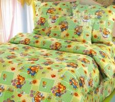 Комплект постельного белья Бамбино Веселая полянка (зеленый) 1,5 сп.