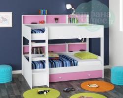 Кровать двухъярусная GK 1, белый-розовый