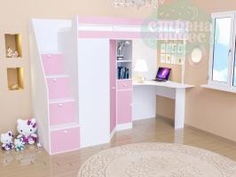 Кровать-чердак GK 6, белый-розовый