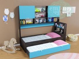 Кровать выдвижная Golden Kids 8, венге-голубая