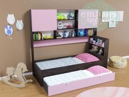 Кровать выдвижная Golden Kids 8, венге-розовая