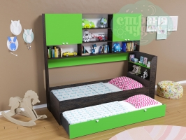 Кровать выдвижная Golden Kids 8, венге-зеленая