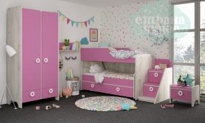 Комната детская Klюkva Mini Роза-Дуб белый