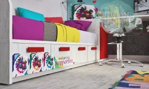 Кровать-диван Klюkva Junior BS07 с 4 ящиками, Animal, белый/дуб белый