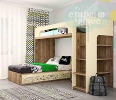 Кровать двухъярусная Klюkva Junior угловая, Tribal, лимонный сорбет
