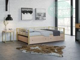 Кровать Арга, бежевая-дуб молочный