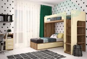 Кровать двухъярусная Klюkva Junior угловая, лимонный сорбет