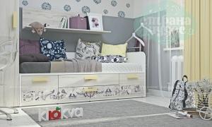 Кровать-диван Klюkva Junior BS08 с 4 ящиками, Provence,дуб серый