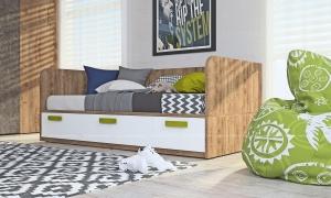 Кровать-диван Klюkva Junior BS03 с 3 ящиками, белый/дуб золотой
