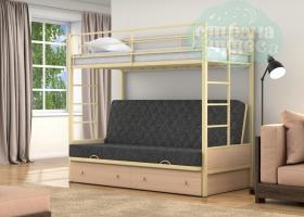 Кровать с темно-серым диваном Дакар-1, бежевая-дуб молочный