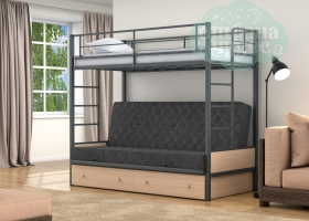 Кровать с темно-серым диваном Дакар-1, серая-дуб молочный