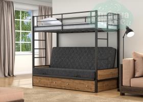 Кровать с темно-серым диваном Дакар-1, черная-дуб вотан