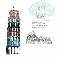 """Наклейка интерьерная """"Пизанская башня"""" 60*90 см"""