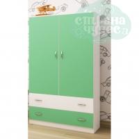 Шкаф Ярофф двустворчатый с ящиками, зеленый