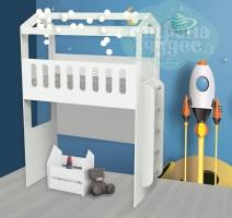Кровать-чердак Домик с нишей и лестницей