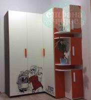 Шкаф угловой с окончанием Klюkva Junior, Fashion, белый/красный чили