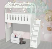Кровать-чердак Домик с нишей и ступенями