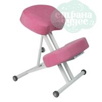 Стул коленный Олимп 1, толстые подушки, розовый плюш