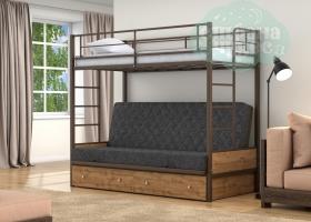 Кровать с темно-серым диваном Дакар-1, коричневая-дуб вотан
