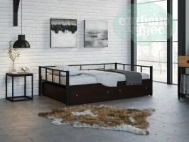 Кровать Арга, черная-венге