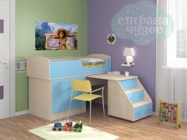 Кровать-чердак ФМ Дюймовочка-2, голубой