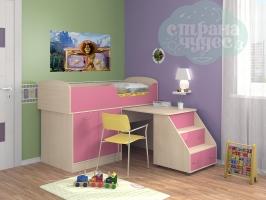 Кровать-чердак ФМ Дюймовочка-2, розовый