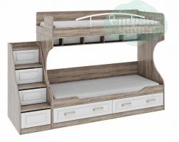 Кровать двухъярусная ТриЯ Прованс со ступенями