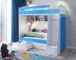Кровать двухъярусная Ярофф Юниор 6, белое дерево-голубой